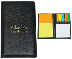 Custom imprinted Leather Look Padfolio with Sticky Notes