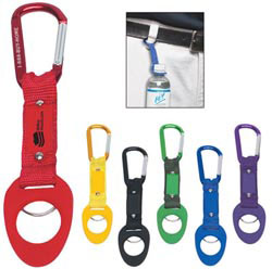 Custom imprinted 6mm Carabiner with Bottle Holder
