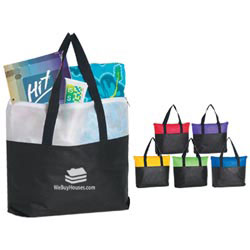 Custom imprinted Non-Woven Two Tone Zippered Tote