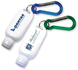 Custom imprinted CLOSEOUT 1 1/2 oz. Grip-it Lotion with Carabiner