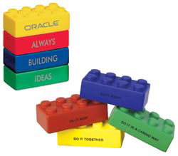 Custom imprinted Icon Building Block Stress Toy