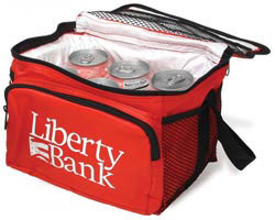 Custom imprinted Deluxe 6 Pack Cooler