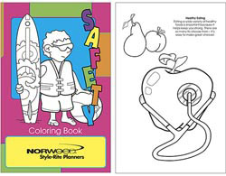 Custom imprinted Health and Safety Coloring Book