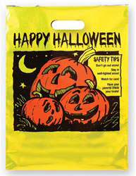 Custom imprinted Metallic Yellow Pumpkin Trick or Treat Bag