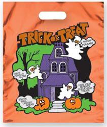 Custom imprinted Metallic Orange Haunted House Trick or Treat Bag
