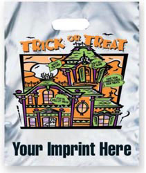 Custom imprinted Metallic Silver New Haunted House Trick or Treat B