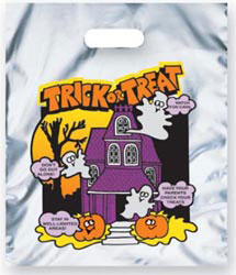 Custom imprinted Metallic Silver Haunted House Trick or Treat Bag