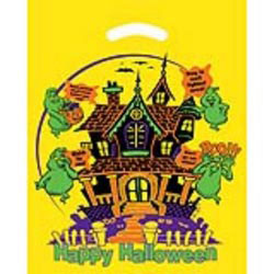 Custom imprinted Yellow Die Cut Haunted House Trick Or Treat Bag