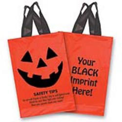 Custom imprinted Orange Soft Loop Pumpkin Face Trick Or Treat Bag