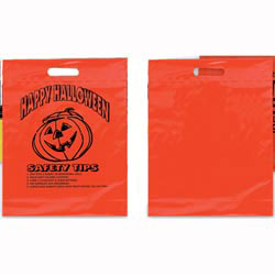 Custom imprinted Orange Die Cut Pumpkin Design Trick Or Treat Bag