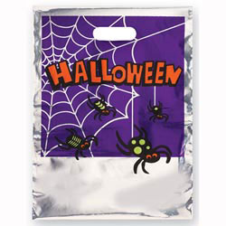 Custom imprinted Metallic Silver Spider Trick or Treat Bag