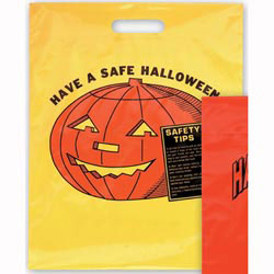 Custom imprinted Yellow Die Cut Pumpkin Design Trick Or Treat Bag