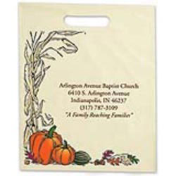 Custom imprinted Ivory Die Cut Corn Stalk Design Trick Or Treat Bag
