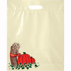 Custom imprinted Ivory Die Cut 3 Color Fall Trick Or Treat Bag