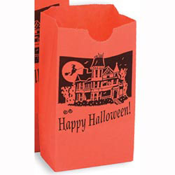 Custom imprinted Size # 2 Orange Halloween Design Shopper Bag
