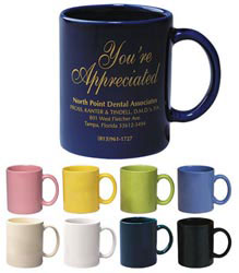 Custom imprinted 11 oz. Colored Stoneware Mug