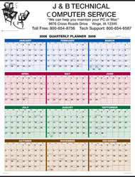 Custom imprinted 4-Color Full Year View Single Sheet Wall Calendar