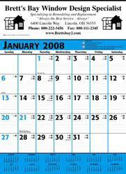 Custom imprinted Commercial Calendar - Blue & Black