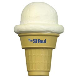 Custom imprinted Ice Cream Cone Stress Reliever
