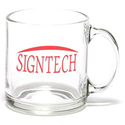 Custom imprinted Clear Glass Coffee Mug
