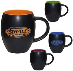 Custom imprinted Matte Barrel with Color Mug - 16 oz