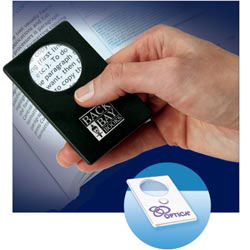 Custom imprinted LED Magnifier Card