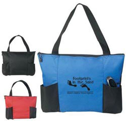 Custom imprinted Double Pocket Zippered Tote Bag