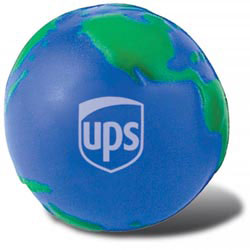Custom imprinted Globe Stress Reliever