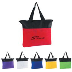 Custom imprinted Non-Woven Zippered Tote
