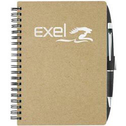 Custom imprinted Recycled Notebook With Pen Loop