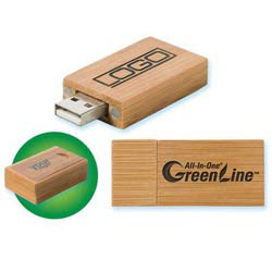Custom imprinted Green Line- USB 2.0 Bamboo Drive