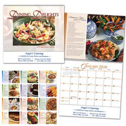 Custom imprinted Dining Delights Calendar