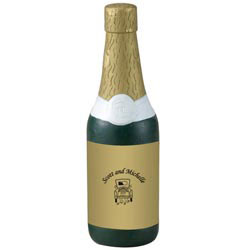 Custom imprinted Champagne Bottle Stress Reliever