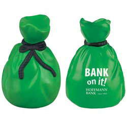 Custom imprinted Moneybag Stress Reliever