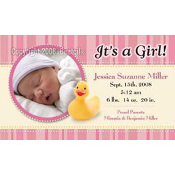 Custom imprinted Baby Announcement - Duckie Pink Stripes Magnet