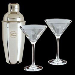 Custom imprinted Martini Shaker Set (2 Glasses)