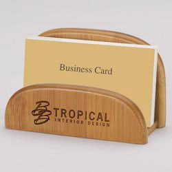 Custom imprinted Bamboo Business Card Holder