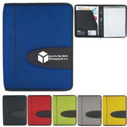 Custom imprinted Eclipse Mesh Zippered Portfolio With Calculator