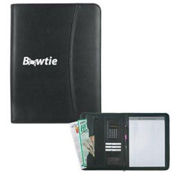Custom imprinted Leather Look Zippered Portfolio With Calculator