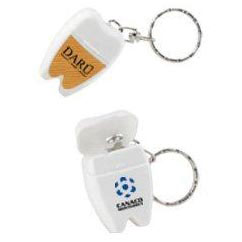 Custom imprinted Tooth Shaped Dental Floss With Keychain