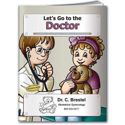 Custom imprinted Coloring Book: Let's Go to the Doctor