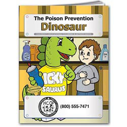 Custom imprinted Coloring Book: The Poison Prevention Dinosaur