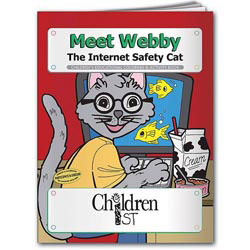Custom imprinted Coloring Book: Meet Webby The Internet Safety Cat
