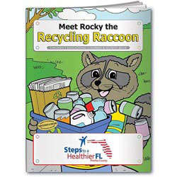Custom imprinted Coloring Book: Meet Rocky the Recycling Raccoon