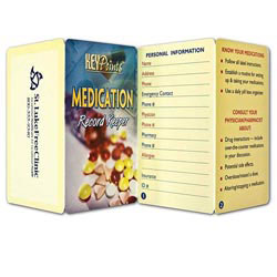 Custom imprinted Key Point: Medication Record Keeper
