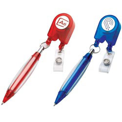 Custom imprinted Retractable Pen & Badge Holder