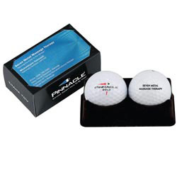 Custom imprinted Pinnacle Gold FX Soft 2 Ball Business Card Box