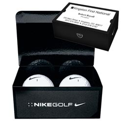 Custom imprinted Nike 2 Ball Business Card Box With Power Long