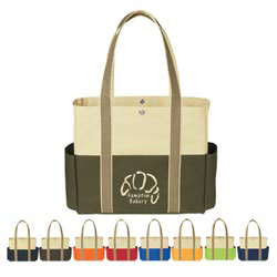 Custom imprinted Tri-Color Tote Bag