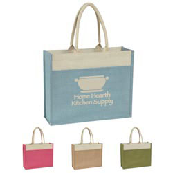 Custom imprinted Jute Tote With Front Pocket
